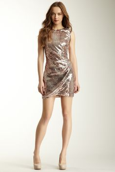 Donna Morgan  Gold Sequin Draped Detail Dress