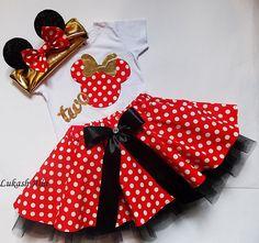 Traje de cumpleaños de Minnie Mouse vestido de cumpleaños