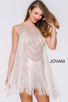 f495f727bd6 Sleeveless Fringe Cocktail Dress Jovani 41061 Jovani Dresses