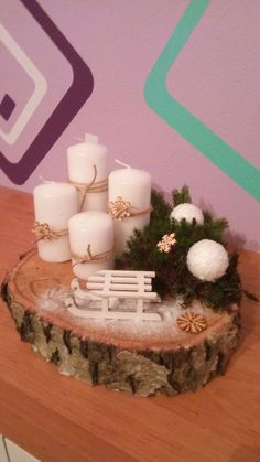 Weihnachten - New Ideas Advent Candles, Christmas Candles, Christmas Centerpieces, Xmas Decorations, Christmas Home, Christmas Wreaths, Christmas Ornaments, Decor Crafts, Holiday Crafts