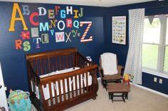 Boys Alphabet Room w/ Chevron Curtains