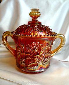 Vintage Imperial Glass Radium Lustre Marigold Sugar Jar with Lid Fenton Glass, Glass Ceramic, Cut Glass, Glass Art, Sugar Bowl, Sugar Jar, Open Rose, Antique Glassware, Imperial Glass