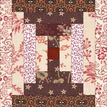 Courthouse Steps Quilt Block - traditional coloring.  I love this block, not these fabrics so much though, not my style.