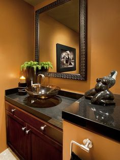 Powder Room: Bold Statements in Small Spaces.  I like the contrasting colors, even if it may be a bit dark