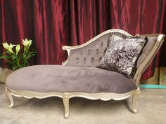 French Provincial Vintage Sofa Chase Lounge Antique Finish Silver Grey Cushion