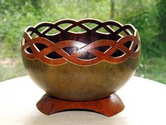 Elegant carved gourd Celtic rim candy or nut dish by GroovyGourds, $65.00