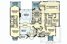 Florida Style House Plans - 6679 Square Foot Home , 2 Story, 5 Bedroom and 6 Bath, 3 Garage Stalls by Monster House Plans - Plan Two Story House Plans, Dream House Plans, House Floor Plans, Huge Mansions, Luxury Floor Plans, Open Ceiling, Florida Style, California Style, I Love House