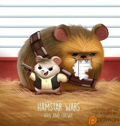 Cute art Daily Paint Hamstar Wars - Han and Chewie by Cryptid-Creations Cute Animal Drawings Kawaii, Kawaii Art, Kawaii Drawings, Cute Drawings, Cute Fantasy Creatures, Cute Creatures, Chibi, Cuadros Star Wars, Animal Puns