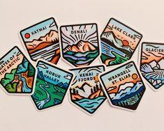 Alaska National Park Sticker by achandes on Etsy Landscape Illustration, Graphic Design Illustration, Alaska National Parks, Kenai Fjords, Adhesive Vinyl, How To Draw Hands, Stickers, Logo, Prints