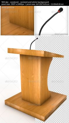 Tribune / Podium / Rostrum for sermons, publich speach, conference, elections and others, on a white background with microphoneSee