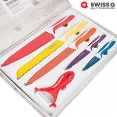 Cuchillos con recubrimiento cerámico y acero inoxidable de alta calidad.