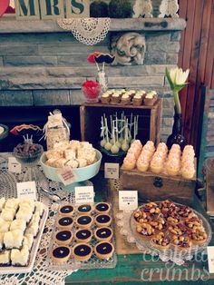 The focus here is not the desserts themselves, but the layout. I think varying heights and different ways to present the desserts are important.