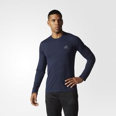 This men's long sleeve training t-shirt sweeps sweat out of your regimen. Made with moisture-wicking climalite® fabric, it features an adidas logo on the left chest.