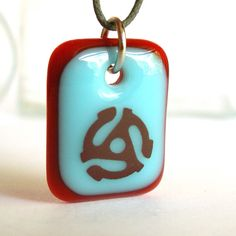 45 Single Record.  Fused glass pendant necklace