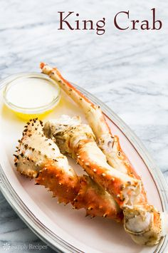 Classic King Crab ~ Alaskan King Crab steamed briefly and served with melted butter. Perfect for a romantic Valentine's dinner! Easy, no fuss. On SimplyRecipes.com