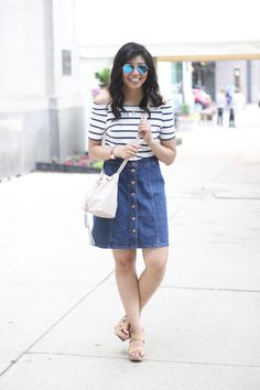 Button down denim skirt, off the shoulder striped shirt with bucket bag. Plus #Nordstrom gift card #giveaway on the blog! \\ summer fashion, summer style