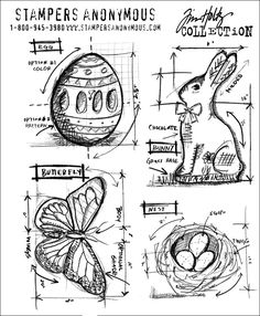 Stampers Anonymous Tim Holtz new stamps: Easter blueprints