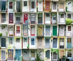 the doors of your neighborhood.... i've done doors in my vacation city. i would like to arrange them like this and frame it