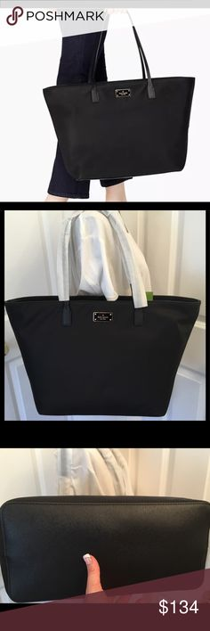 """Kate Spade Blake Avenue Margareta Black Tote NWT This is a brand new with tags Kate Spade Blake Avenue Margareta tote.  Black nylon.  Zips across the top.  Measures about 11.3""""h x 15.6""""(across the top)w x 6.2""""d.  Strap drop length is about 9.8"""". kate spade Bags Totes"""