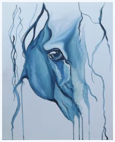 Blue abstract horse eye portrait in a water colour style painted in acrylic paint by UK artist Amber Rose O'Sullivan - www.amberroseosullivan.co.uk
