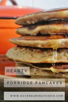 Quick, easy, hearty oatmeal pancakes. Full of slow releasing oat based goodness, with a little extra bite! What's not to love?! Porridge Pancakes.