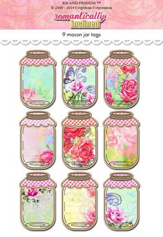 Digital Shabby Chic  Romantic Mason Jar Tags / by KBandFriends, $5.00