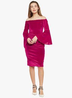 Pink Solid Off Shoulder Dress Best Online Fashion Stores, Online Shopping Sites, Jumpsuit Dress, Buy Shoes, Shoe Brands, Party Dress, Shoulder Dress, India, Pink
