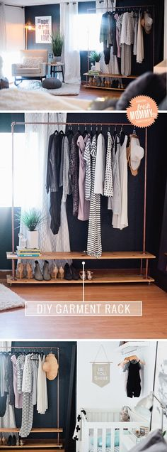 Rolling DIY Garment Rack. Read the full simple and easy tutorial to make your own wardrobe rack when you need some extra closet space or a way to display your items.