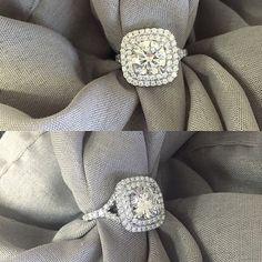 Cushion Baby Split Double Halo Engagement Ring