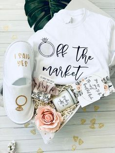 OFF the market gift basket - first of our premium engagement boxes now in stock ! Bridal Boxes, Wedding Gift Boxes, Wedding Gifts, Engagement Gift Baskets, Engagement Gifts For Bride, Engagement Box, Bridal Shower Gifts For Bride, Bridal Gifts, Bride To Be Box