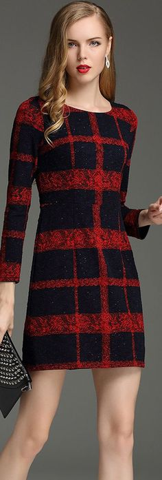 Burgundy Round Neck Plaid Dress