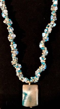 4 Strand Spiral Beaded Necklace with a Unique Banded Lace Agate Pendant and Czech Glass Seed Beads and Opalite in Hues of Blues and Golds by CeeChelle on Etsy