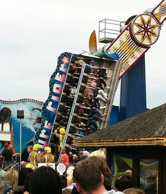 Firefighters used ropes and ladders to rescue passengers who became lodged at a 90-degree angle on the ride at an amusement park at Skegness Pleasure Beach. Description from dailymail.co.uk. I searched for this on bing.com/images