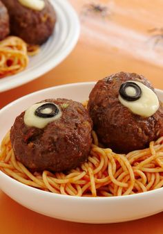 """Spaghetti and """"Oozing Eyeballs"""" -- Your kids will get a kick out of this Halloween-inspired recipe when gets to the dinner table!"""