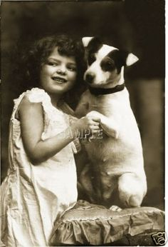 Vintage Jack Russell Terrier Dog Child Girl Photograph Photo Canvas Art Print | eBay
