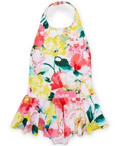 Ralph Lauren Little Girls' One-Piece Floral-Print Swimsuit