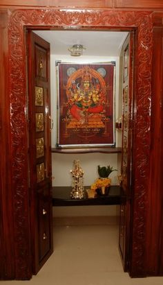 Discover some of the latest Indian pooja room designs with us. These beautiful pooja room designs help maintain the peace and sanctity of the household. Fashion Room, Pooja Room Design, Door Design, Pooja Rooms, Temple Design For Home, Wall Tiles Design, Room Doors, Room Door Design, Pooja Room Door Design
