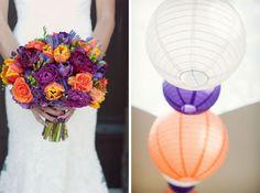 Purple-and-orange-wedding-bouquet-reception-inspiration. Love the bouquet.