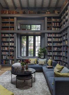 Home Library Rooms, Cozy Library, Home Library Design, Home Libraries, Home Interior Design, Smart Home Design, Library Ideas, A Frame Cabin, Beautiful Living Rooms