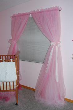 Pink tulle princess curtain panels single shade by elisabethdunn Tulle Curtains, Nursery Curtains, Home Curtains, Panel Curtains, Curtain Panels, Princess Curtains, Princess Room, Princess Party, Disney Princess