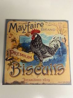 """10"""" x 10"""" Canvas Wall Decor Sign Mayfaire Premium Brand Biscuits on Wood New   eBay"""