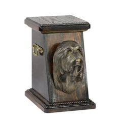 Wooden urn, made of birch with cold cast bronze statue ♥ Cremation Boxes, Dog Cremation, Bearded Collie, Brass Handles, Urn, Birch, Your Pet, Bronze, Cold