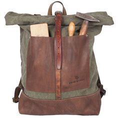 1924us:  atelierdelarmee- Atelier de l'Armée handcrafted Bag236 - made out of a 1950's Dutch army duffel mixed with deadstock cowhide leat...