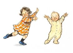 Shirley Hughes writes about Alfie and Annie Rose, their neighbors, and family. The illustrations looks like real families live in the pages -- a little messy with much love. Shirley Hughes, Children's Book Illustration, Book Illustrations, Penny Black, Limited Edition Prints, Vintage Children, Childrens Books, Oakley, Children Dancing