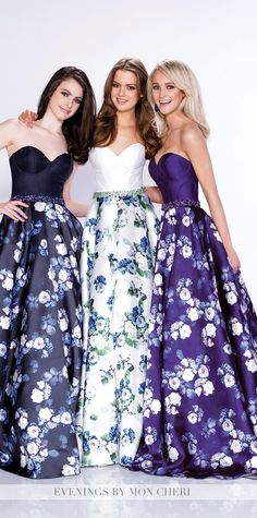 Formal Evening Gowns by Mon Cheri - Fall 2016 - Style No. MCE21637 - floral ball gown evening dress with solid strapless bodice and printed full skirt with side pockets