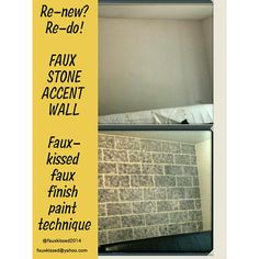 Accent wall transformation...If it can be painted, it can be Fauxkissed!!! Amazing what a little paint can do!