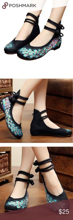 Peacock Black Chinese Embroidered Kicks Cotton-blend Easy On and Off Non-Skid SoleRubber sole Perfect for costume and daily casual Chinese traditional style Fresh and elegant pattern New in Box Embroidered Kicks Shoes Flats & Loafers