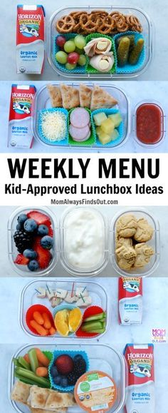 Kids Meals A one week meal plan for kid-approved school lunch Ideas with Horizon Organic - A weekly meal plan for one week's worth of kids school lunch ideas. Easy to pack cold lunches for kids. This menu has been mom and KID-APPROVED! Kids Lunch For School, Healthy Lunches For Kids, Healthy School Lunches, Toddler Lunches, Toddler Food, School Ideas, Toddler Lunchbox Ideas, Healthy Recipes For Kids, High School Lunches