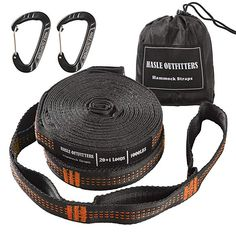 57f50cbab99 HASLE OUTFITTERS Hammock Tree Straps with Aluminum Carabiners - Combined 20  ft Long