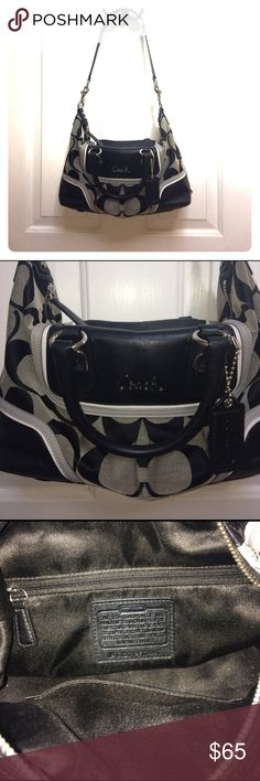 Coach Ashley Signature Satchel Classic Coach Signature bag in EUC. No stains, tears, scratches.Color: Black/Gray/White Style: Satchel Construction: jacquard fabric and black patent leather accents Exterior: Signature large Coach C's on jacquard fabric with black patent leather trim Entry: Zip closure Hardware: Silvertone Lining: Solid black fabric lining Handles: Short handles with about 4 to 5 inch drop length Leather patch with creed and serial number Interior pockets: One (1) zipper and…